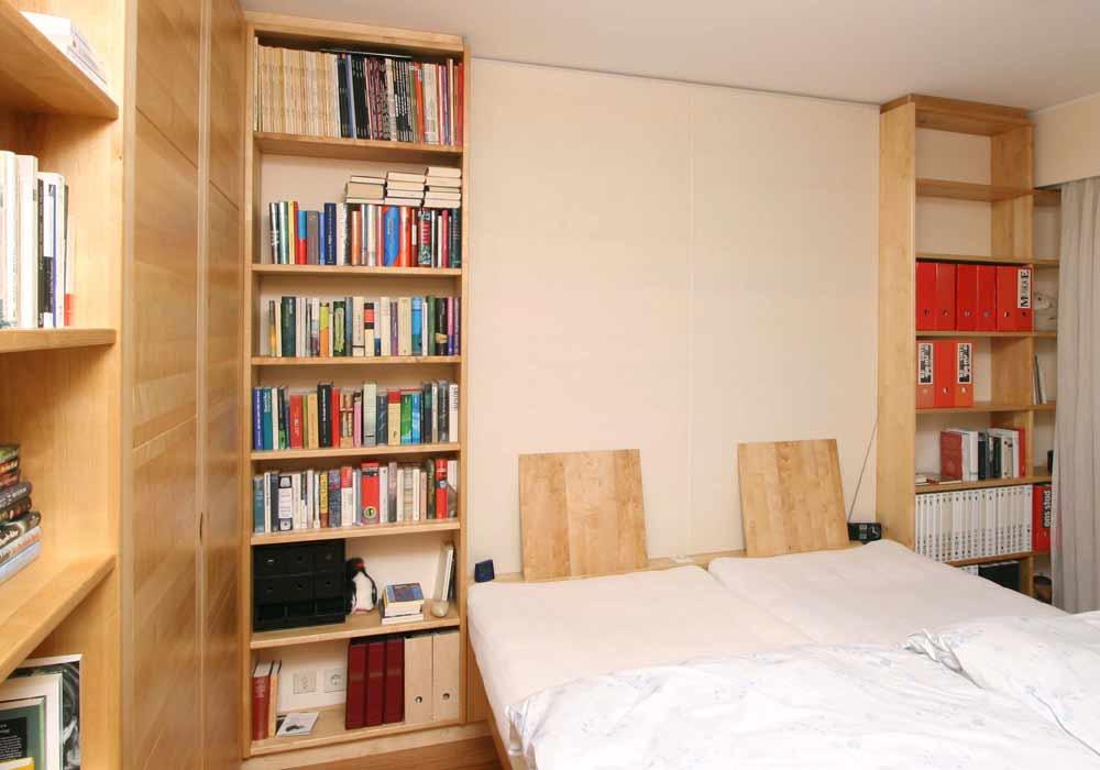 Lit, étagère et armoire